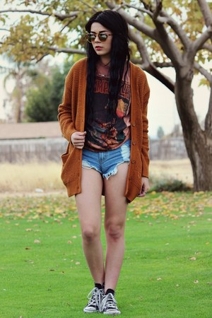 burnt orange Forever 21 cardigan - sky blue romwe shorts