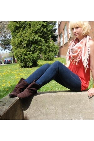Bluenotes top - Only jeans - scarf - Walmart boots