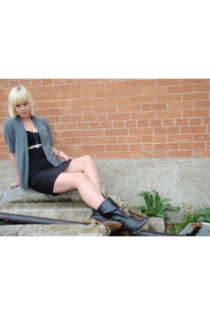 Silence & Noise sweater - Old Navy boots - Casa Blanca belt - era thrift dress -