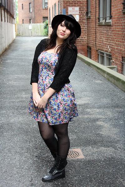 bubble gum floral dress - black boots - black hat - black lace jacket jacket