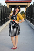 navy polka dot dress - mustard cardigan - red flats