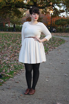cream dress - brown oxfords shoes - black opaque tights