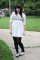 white shoes - white dress - black opaque tights