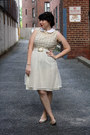 Ivory-dress-silver-metalic-isaac-mizrahi-flats-gold-vintage-belt