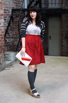 ruby red handmade velvet skirt - charcoal gray knee high socks socks - beige top