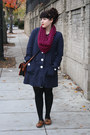 Magenta-scarf-navy-coat-burnt-orange-sweater-black-tights