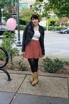 striped skirt - fringe boots - biker jacket jacket - vintage scarf