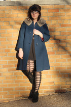 black tights - navy vintage coat - black wedges - black pleated skirt