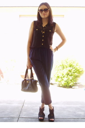navy Forever21 pants - black Marc by Marc Jacobs bag