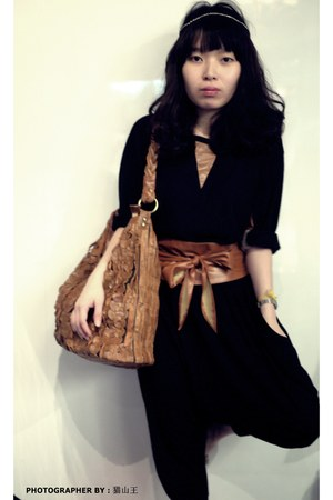 leather bag - harem pants pants - blouse - waist wrap belt belt