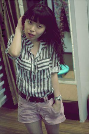 pink Forever21 pants - silver blouse - black belt - black Topman hat