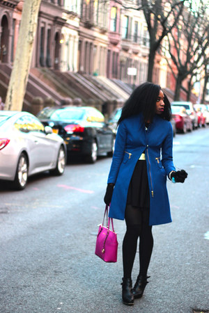 black Zara dress - blue H&M coat - hot pink Michael Kors bag