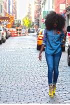 blue Gap jeans - blue denim shirt J Crew shirt - lime green makemechic heels