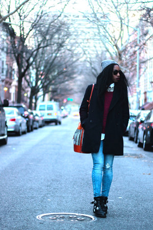 black Zara coat - sky blue Zara jeans - brick red Gap sweater