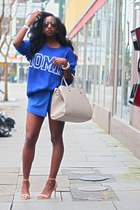 blue Urban Outfitters sweater - beige H&M bag - blue skort Zara skirt