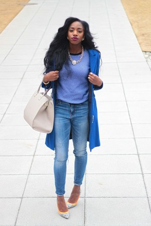blue H&M coat - blue Urban Outfitters jeans - light blue Zara sweater