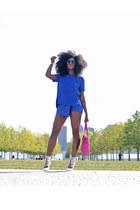 blue skort Zara skirt - hot pink Michael Kors bag - blue Zara top