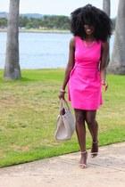 hot pink Zara dress - heather gray H&M bag - camel Zara heels