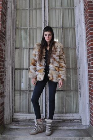 vintage coat - Topshop jeans - Alexander Wang t-shirt - Isabel Marant sneakers