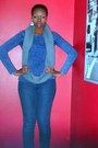 Blue-loveculture-skinny-jeans-blue-forever-21-sweater-heather-gray-hm-scarf