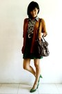Brown-random-cardigan-dark-brown-newlook-bag-green-suede-zara-pumps
