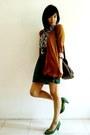 Green-suede-zara-pumps-dark-brown-newlook-bag-brown-random-cardigan