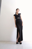 black long Body&Soul dress - black suede Zara heels - black dior belt