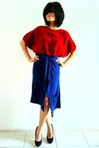 brick red vintage top - navy random cardigan - black suede Zara heels