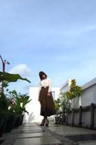 dark brown maxi vintage skirt - ivory chiffon vintage blouse
