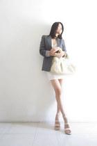 charcoal gray Bershka blazer - white random heels