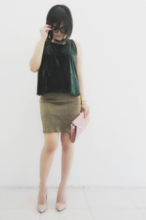 glittery vintage skirt - nude leather Newlook heels