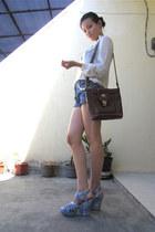 off white sheer vintage blouse - brown leather vintage bag