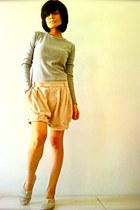 cream Zara shorts - silver Mango top - off white random flats