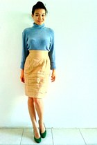 neutral vintage skirt - sky blue cashmere random sweater