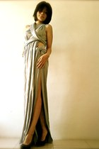 silver draped jersey custom made dress - black suede Zara heels