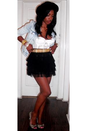 Forever21 jacket - vintage bra - Forever21 belt - Forever21 skirt - DKNY shoes -