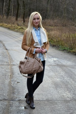 camel Sheinside jacket - turquoise blue pull&bear shirt - beige Primark bag
