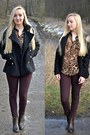 Black-sheinside-jacket-dark-brown-leopard-print-rosewholesale-shirt