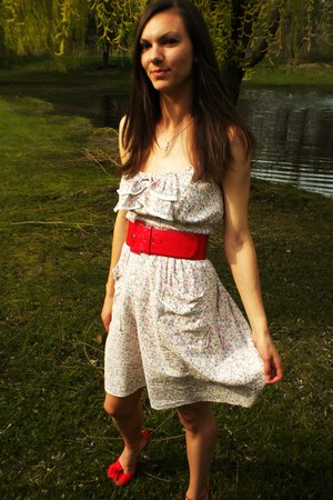 white thrifted dress - red H&M belt