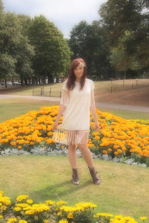 cream Topshop dress - brown Primark boots - white headband Topshop accessories