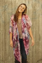 navy Hudson jeans - hot pink floral DIY cardigan - camel free people blouse