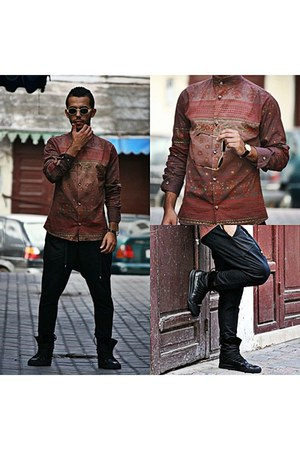 vintage shirt - antony Muratto boots - sammydress pants - vintage glasses