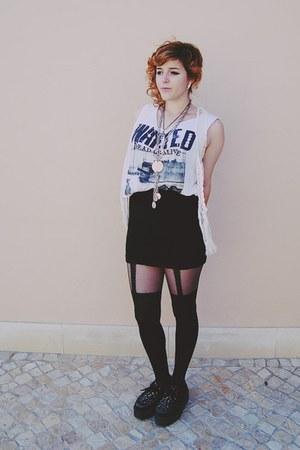 black creepers shoes - white zara mens DIY shirt - black Bershka skirt