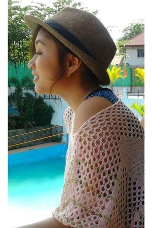 dark brown Zara hat - nude wool Forever 21 top - sky blue Uniqlo swimwear