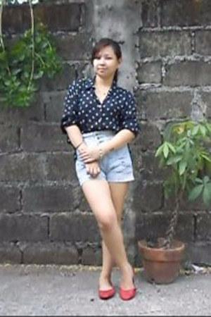 light blue high waist Topshop shorts - navy polka dot valerie stevens blouse