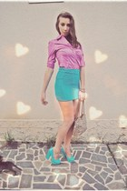 bubble gum Suzi shirt - leopard print bag - turquoise blue Bershka skirt