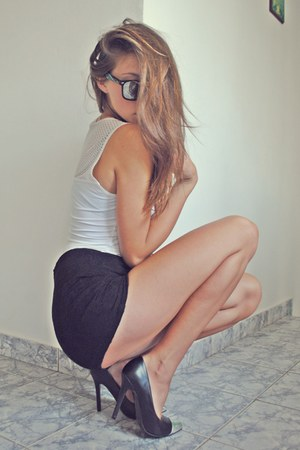 white top - black lace shorts - black silver Zara heels