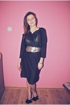 black shoes - black glitter dress - silver belt