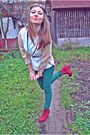 Forest-green-h-m-leggings-off-white-amisu-blazer-maroon-zipped-wedges
