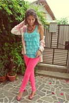 hot pink H&M leggings - bubble gum diy heels - sky blue top